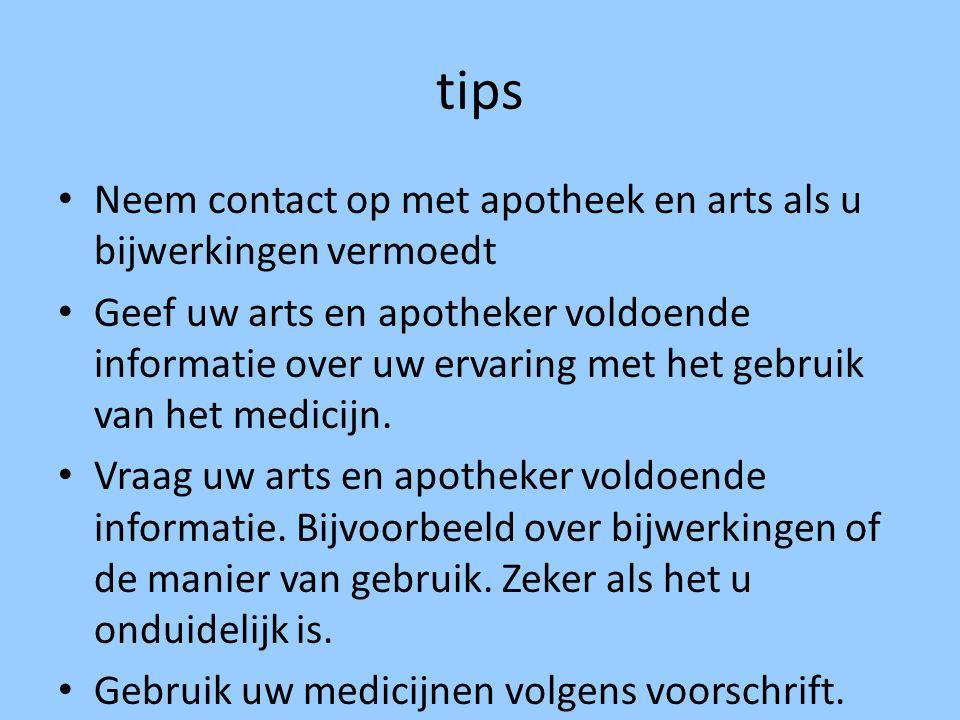 tips Neem contact op met apotheek en arts als u bijwerkingen vermoedt