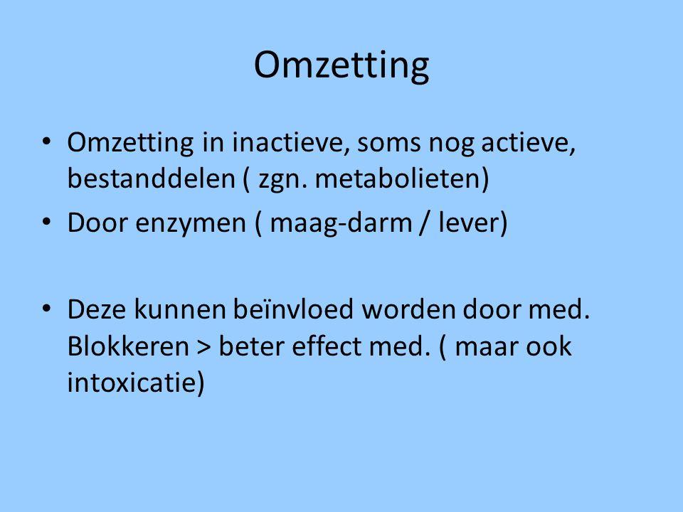 Omzetting Omzetting in inactieve, soms nog actieve, bestanddelen ( zgn. metabolieten) Door enzymen ( maag-darm / lever)