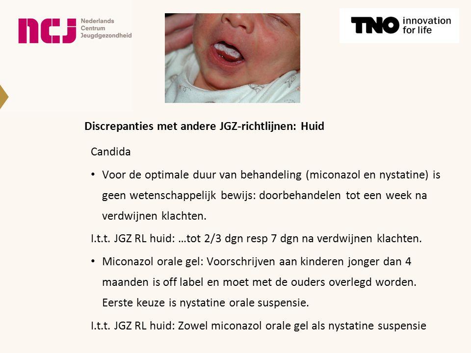 Discrepanties met andere JGZ-richtlijnen: Huid