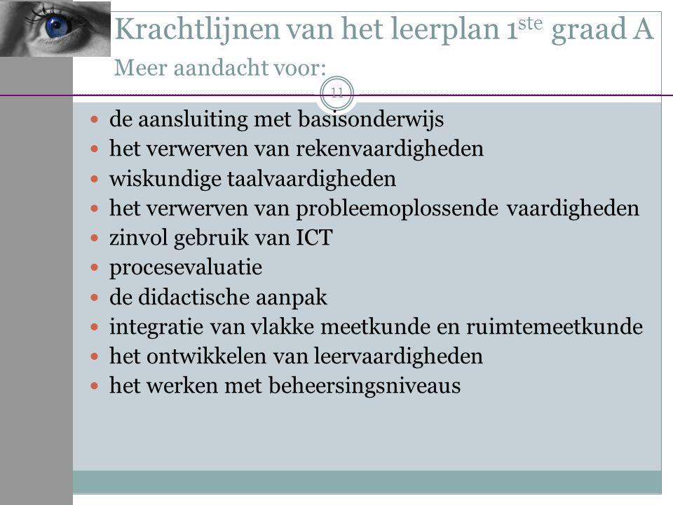 Krachtlijnen van het leerplan 1ste graad A Meer aandacht voor:
