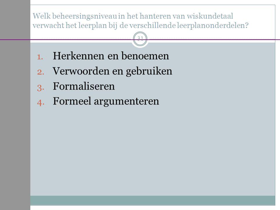 Verwoorden en gebruiken Formaliseren Formeel argumenteren