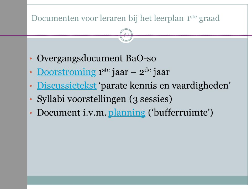Documenten voor leraren bij het leerplan 1ste graad