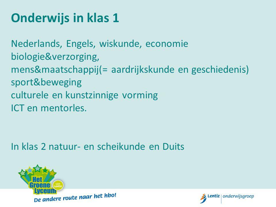 Onderwijs in klas 1 Nederlands, Engels, wiskunde, economie