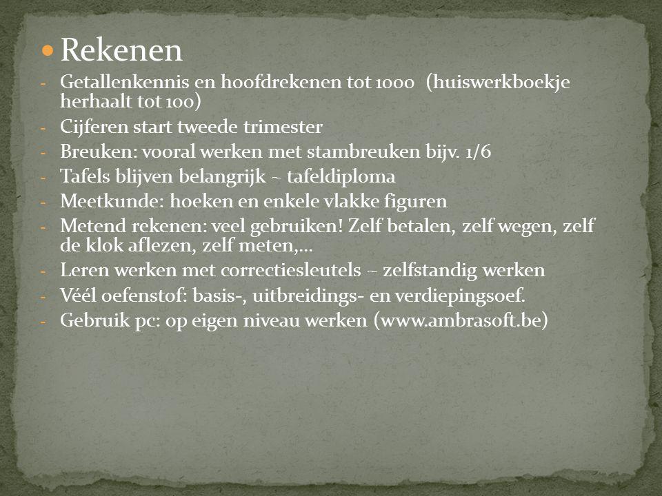 Rekenen Getallenkennis en hoofdrekenen tot 1000 (huiswerkboekje herhaalt tot 100) Cijferen start tweede trimester.