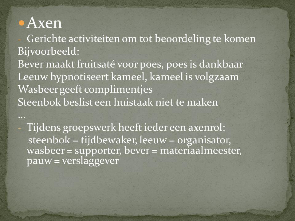 Axen Gerichte activiteiten om tot beoordeling te komen Bijvoorbeeld: