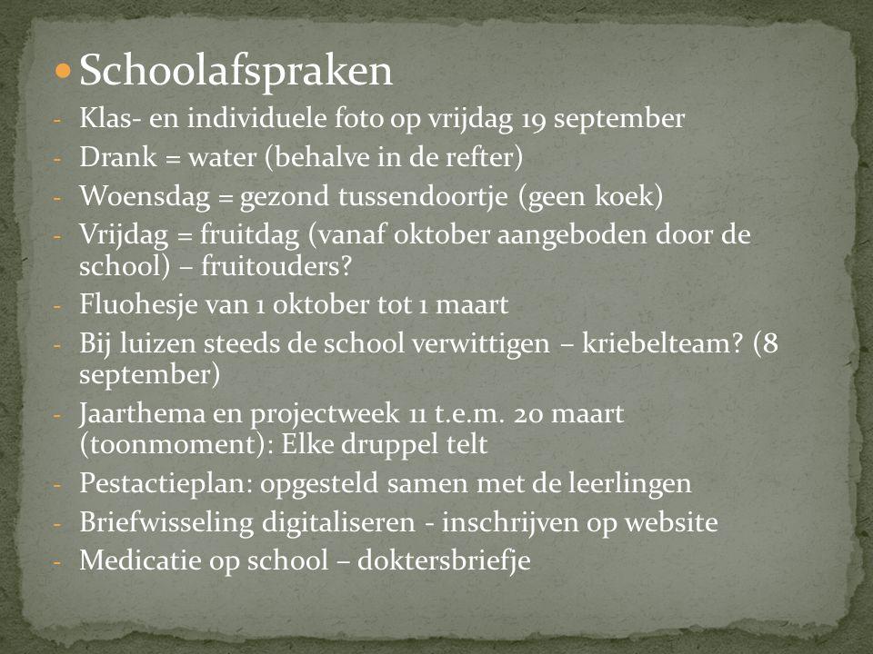 Schoolafspraken Klas- en individuele foto op vrijdag 19 september