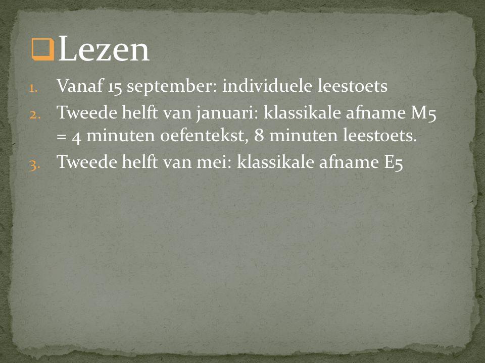 Lezen Vanaf 15 september: individuele leestoets