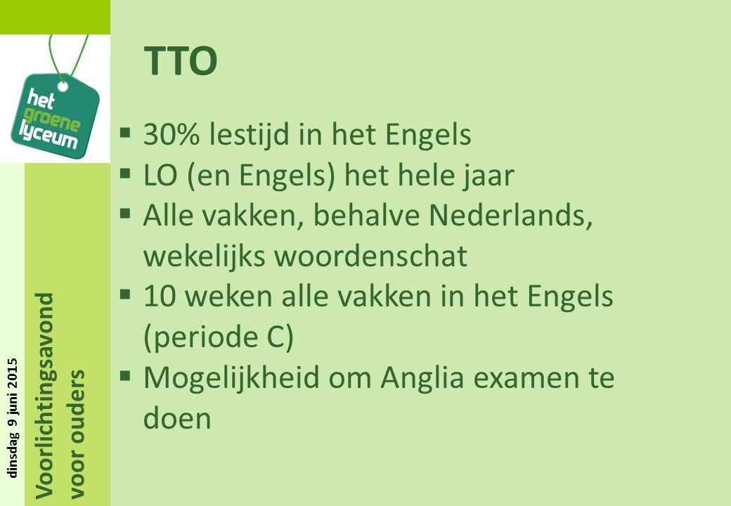 TTO 30% lestijd in het Engels LO (en Engels) het hele jaar