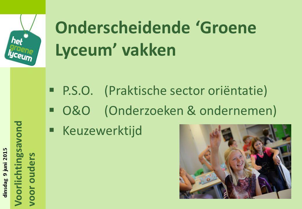 Onderscheidende 'Groene Lyceum' vakken