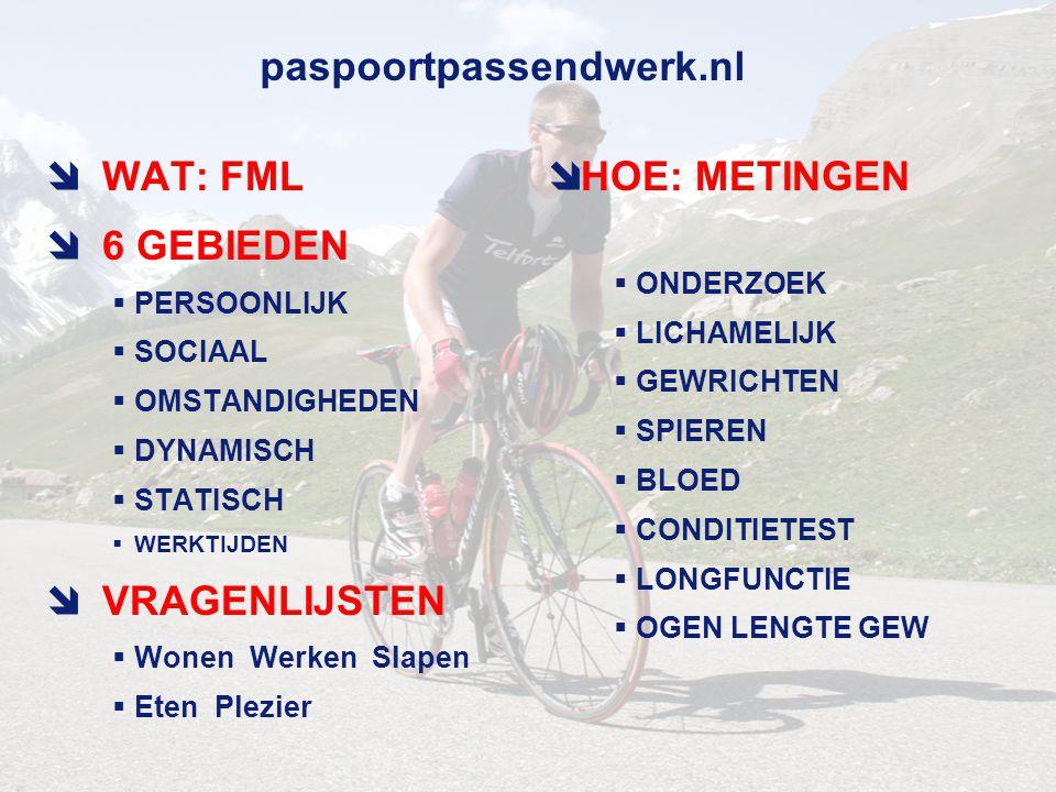 WAT: FML 6 GEBIEDEN VRAGENLIJSTEN HOE: METINGEN paspoortpassendwerk.nl