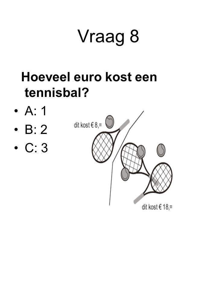Vraag 8 Hoeveel euro kost een tennisbal A: 1 B: 2 C: 3