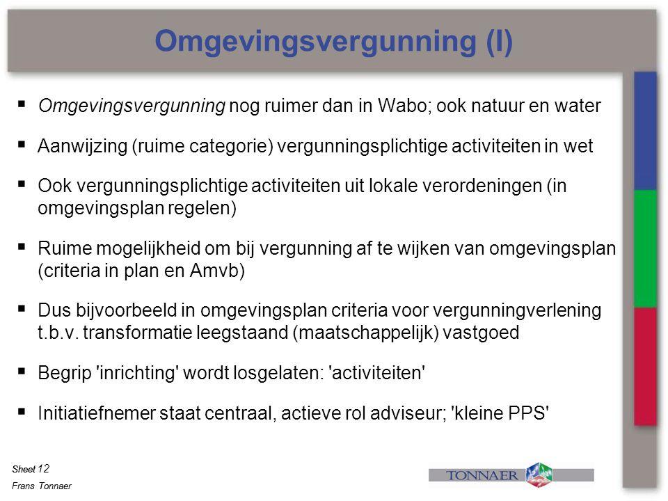 Omgevingsvergunning (I)