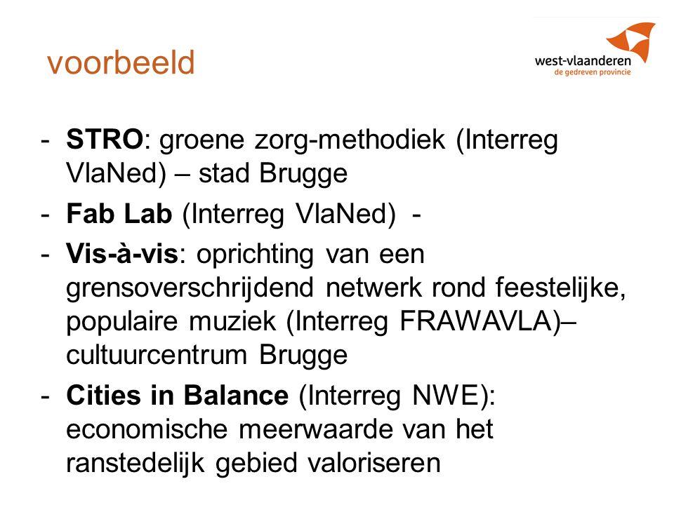 voorbeeld STRO: groene zorg-methodiek (Interreg VlaNed) – stad Brugge