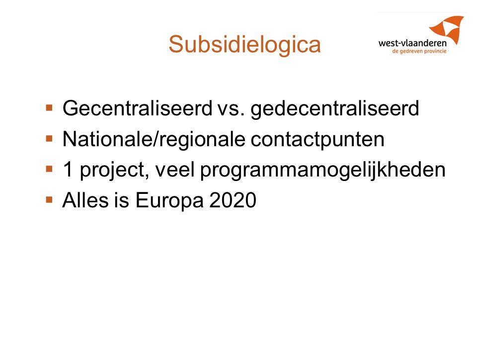 Subsidielogica Gecentraliseerd vs. gedecentraliseerd