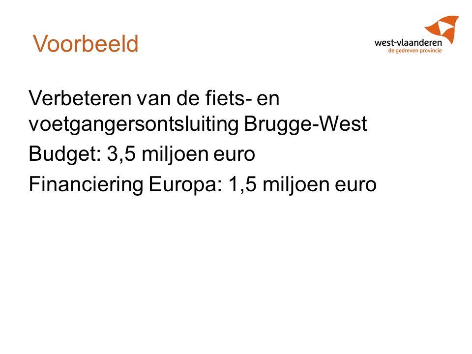 Voorbeeld Verbeteren van de fiets- en voetgangersontsluiting Brugge-West Budget: 3,5 miljoen euro Financiering Europa: 1,5 miljoen euro
