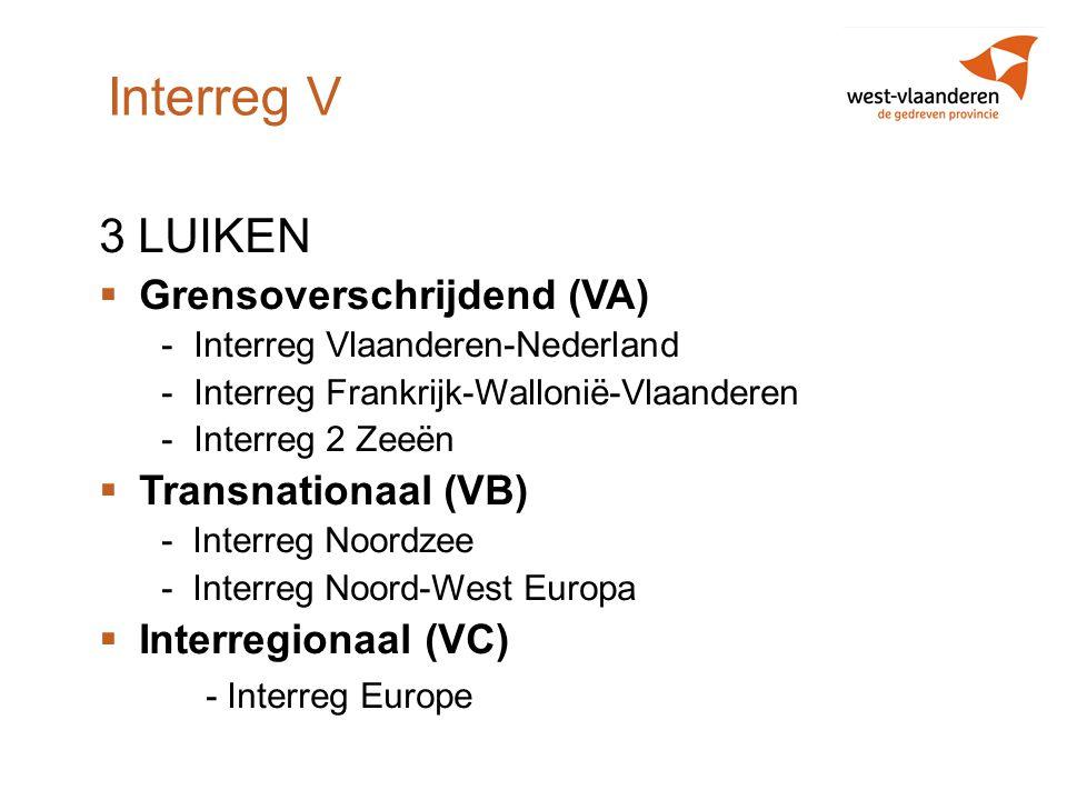 Interreg V 3 LUIKEN Grensoverschrijdend (VA) Transnationaal (VB)