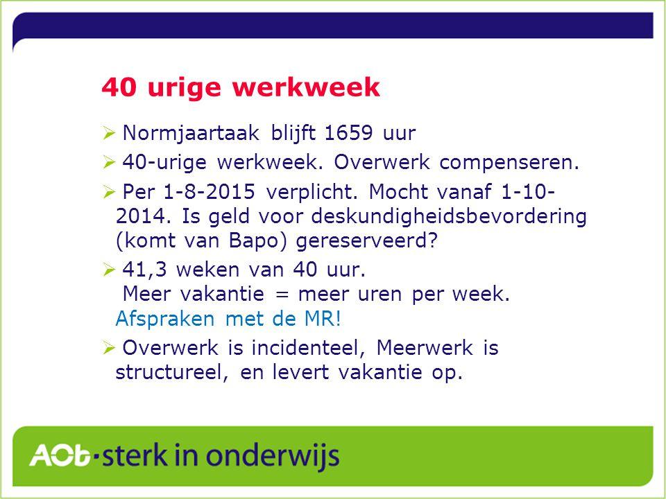 40 urige werkweek Normjaartaak blijft 1659 uur