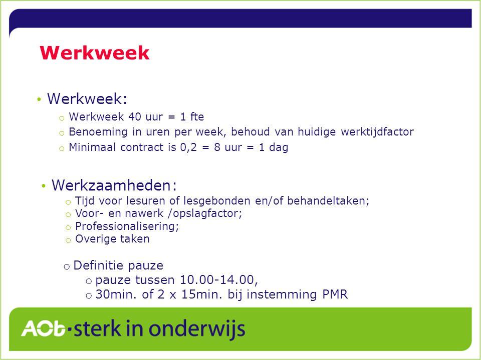 Werkweek Werkweek: Werkzaamheden: Definitie pauze