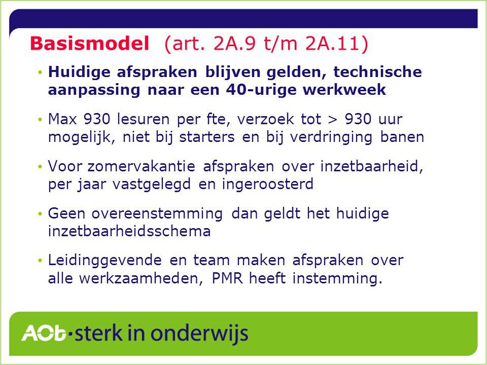 Basismodel (art. 2A.9 t/m 2A.11)