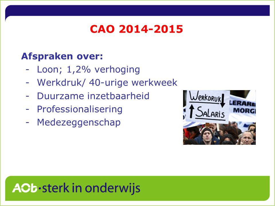 CAO 2014-2015 Afspraken over: Loon; 1,2% verhoging