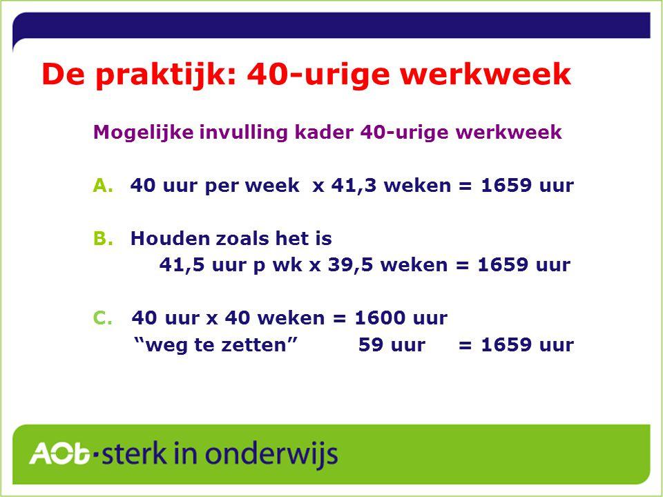 De praktijk: 40-urige werkweek