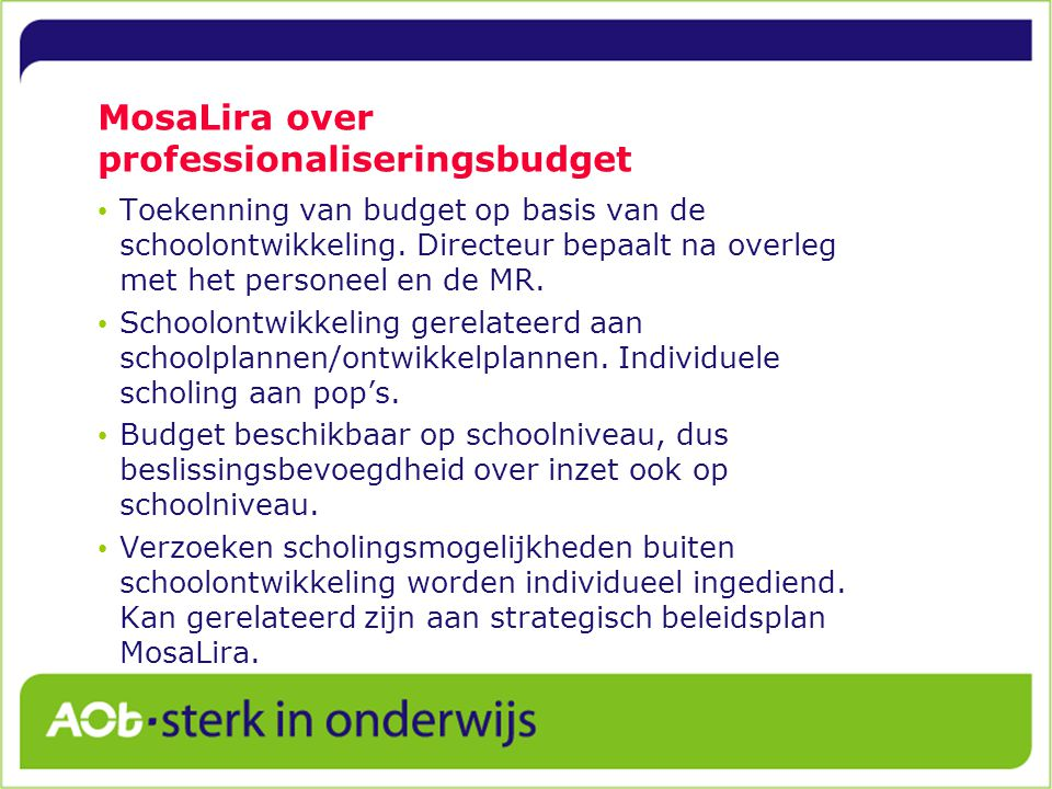 MosaLira over professionaliseringsbudget