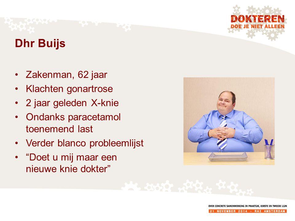 Dhr Buijs Zakenman, 62 jaar Klachten gonartrose 2 jaar geleden X-knie