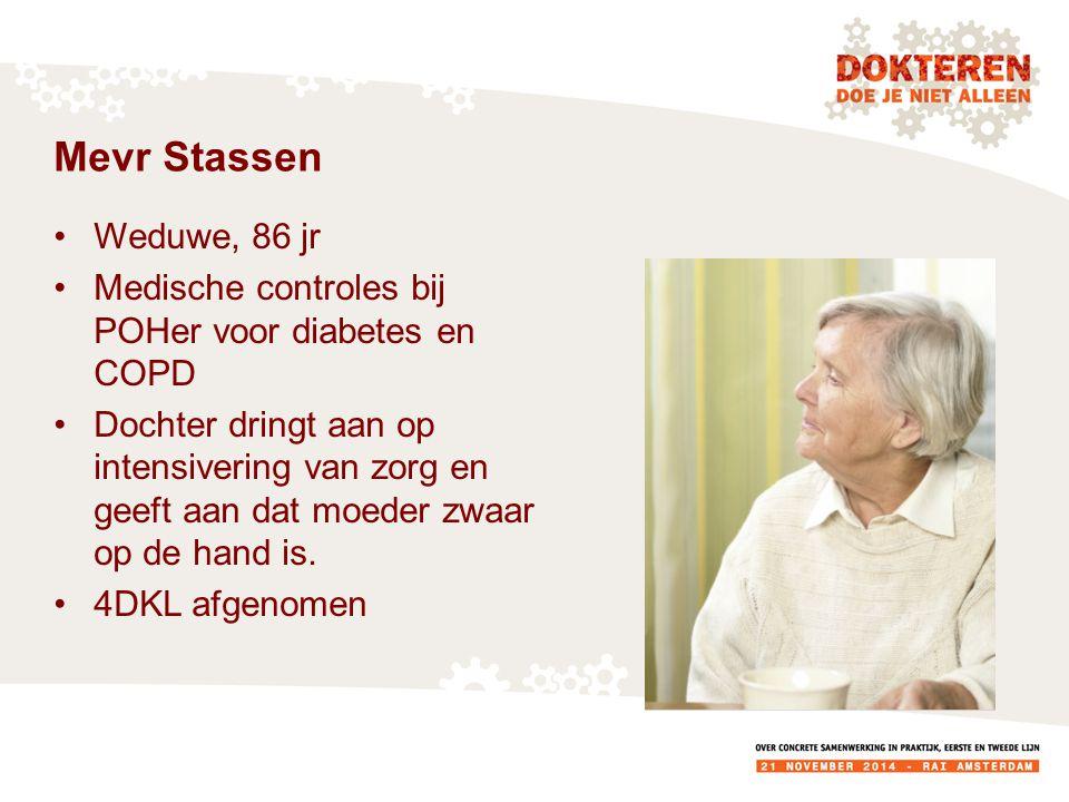 Mevr Stassen Weduwe, 86 jr. Medische controles bij POHer voor diabetes en COPD.