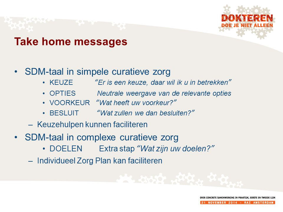 Take home messages SDM-taal in simpele curatieve zorg