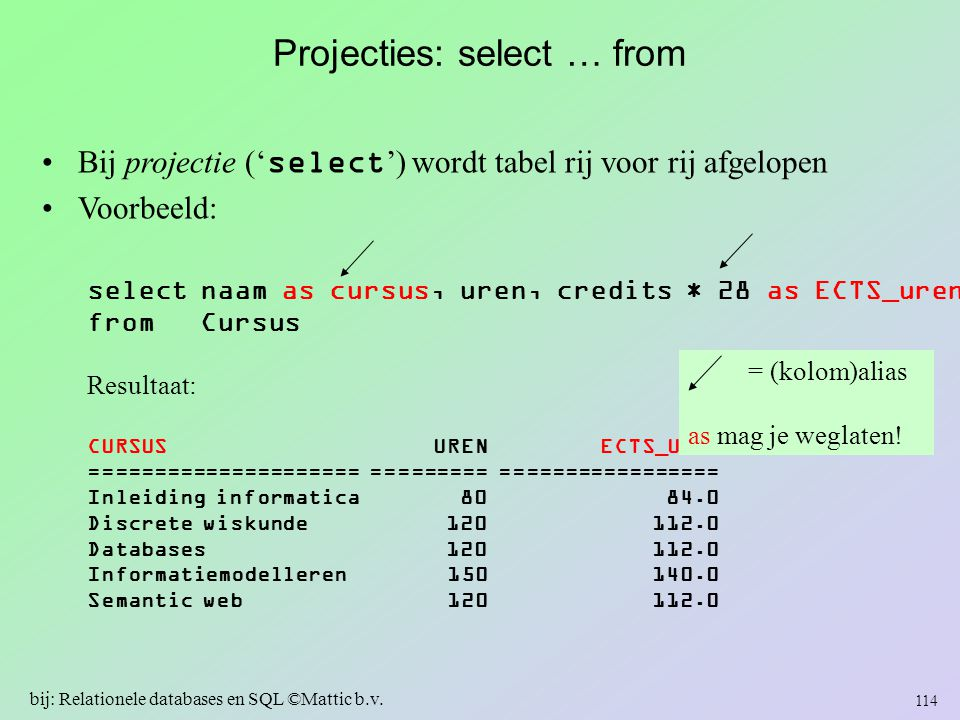 Projecties: select … from