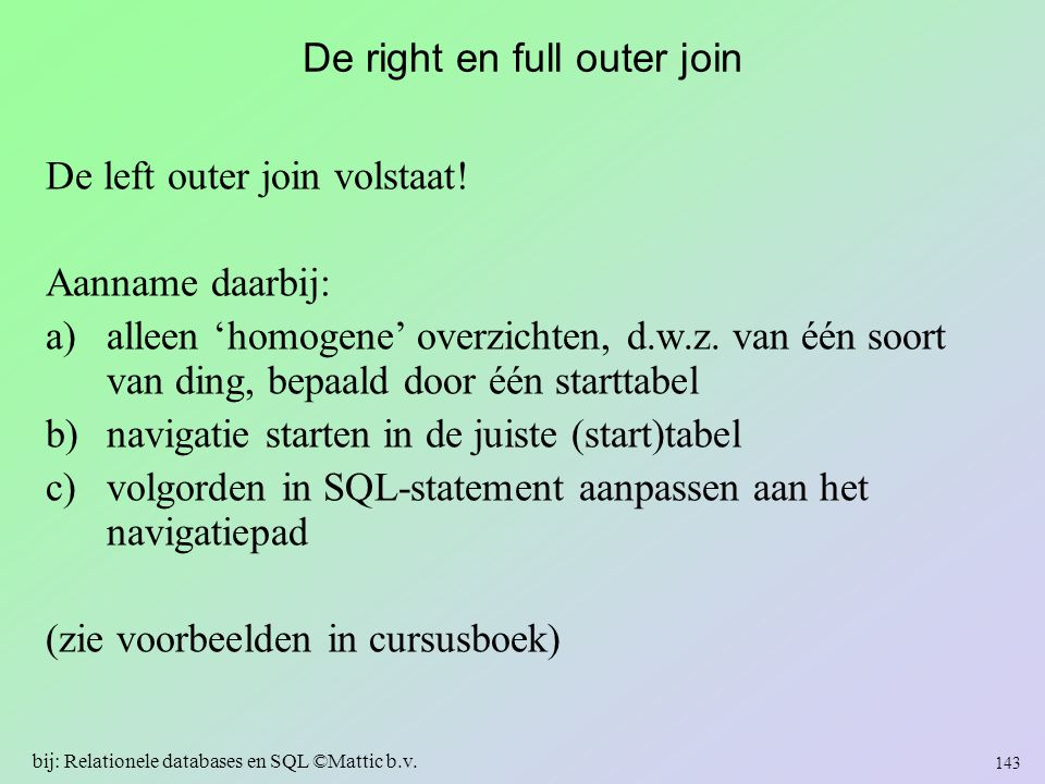 De right en full outer join