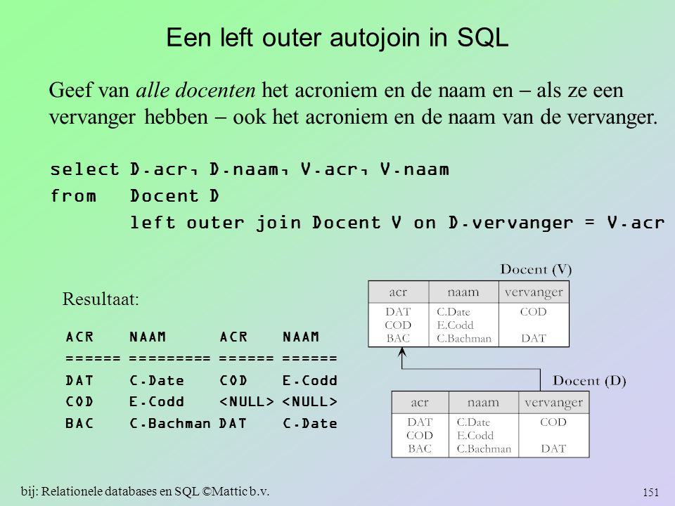 Een left outer autojoin in SQL