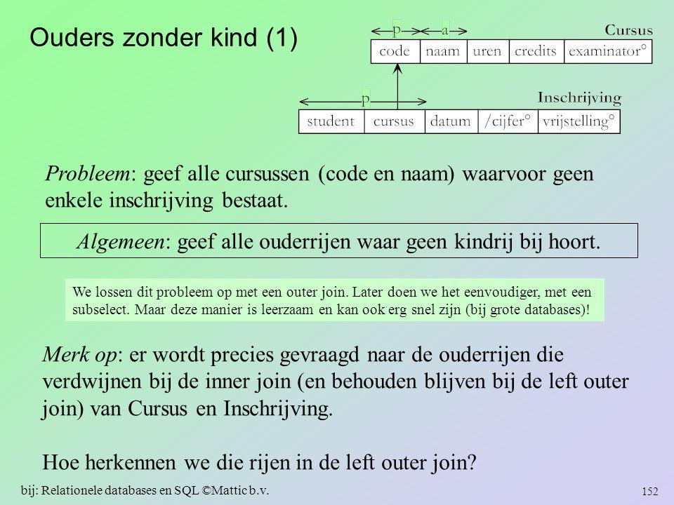 Ouders zonder kind (1) Probleem: geef alle cursussen (code en naam) waarvoor geen. enkele inschrijving bestaat.
