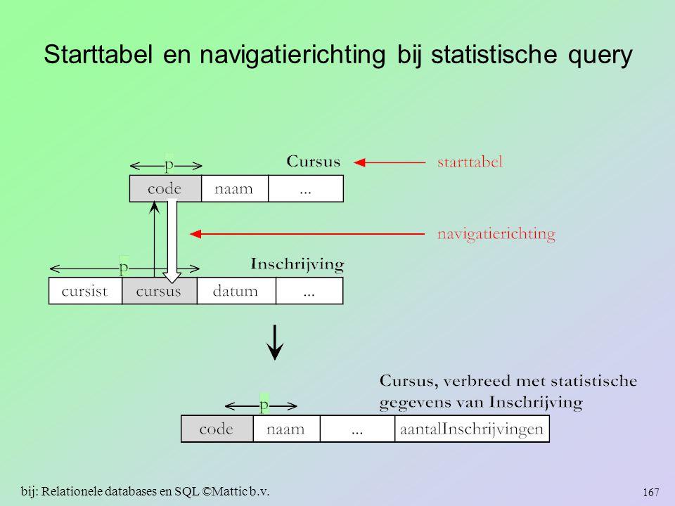 Starttabel en navigatierichting bij statistische query