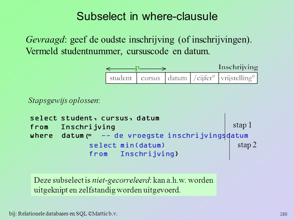 Subselect in where-clausule