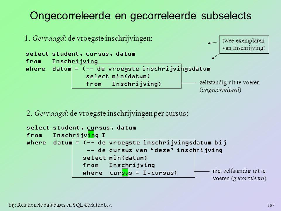 Ongecorreleerde en gecorreleerde subselects