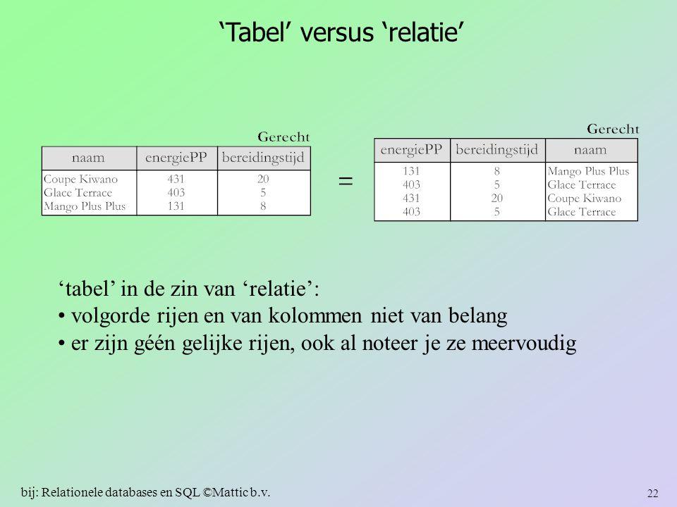 'Tabel' versus 'relatie'