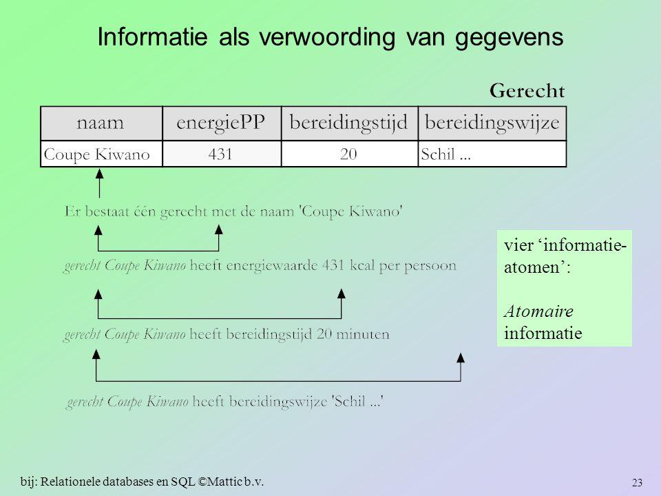 Informatie als verwoording van gegevens