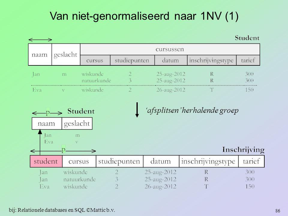 Van niet-genormaliseerd naar 1NV (1)