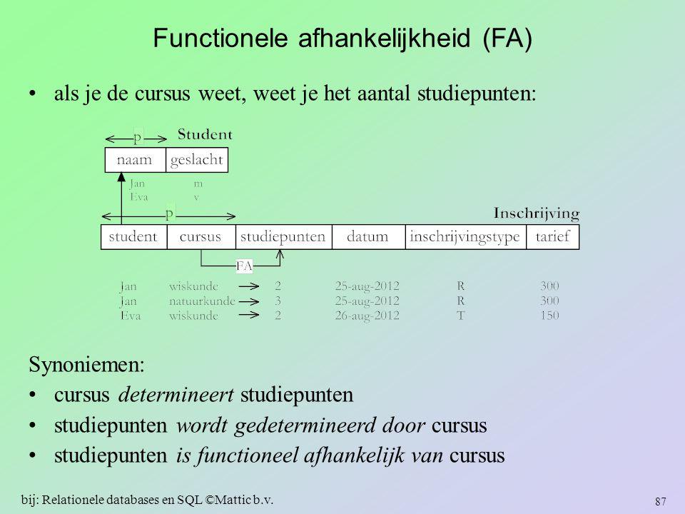 Functionele afhankelijkheid (FA)