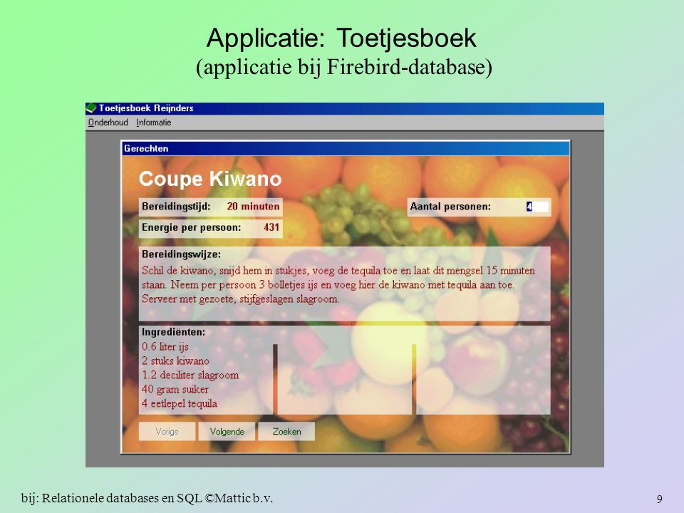 Applicatie: Toetjesboek