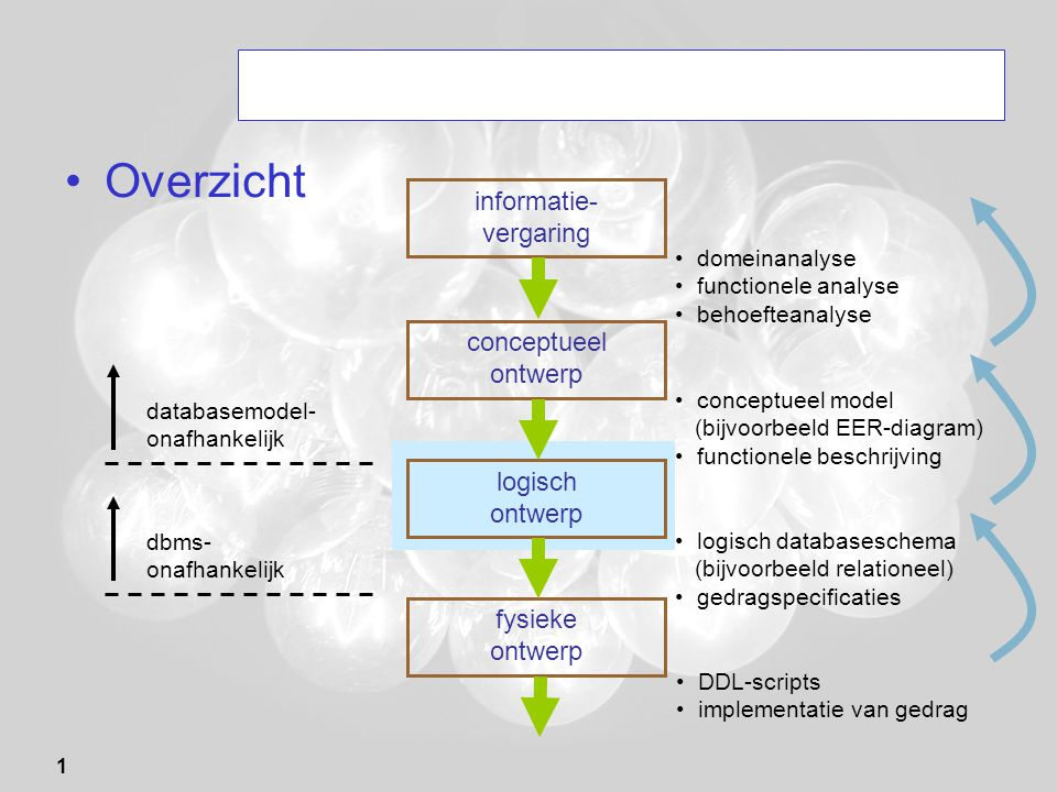 Overzicht informatie- vergaring conceptueel ontwerp logisch ontwerp