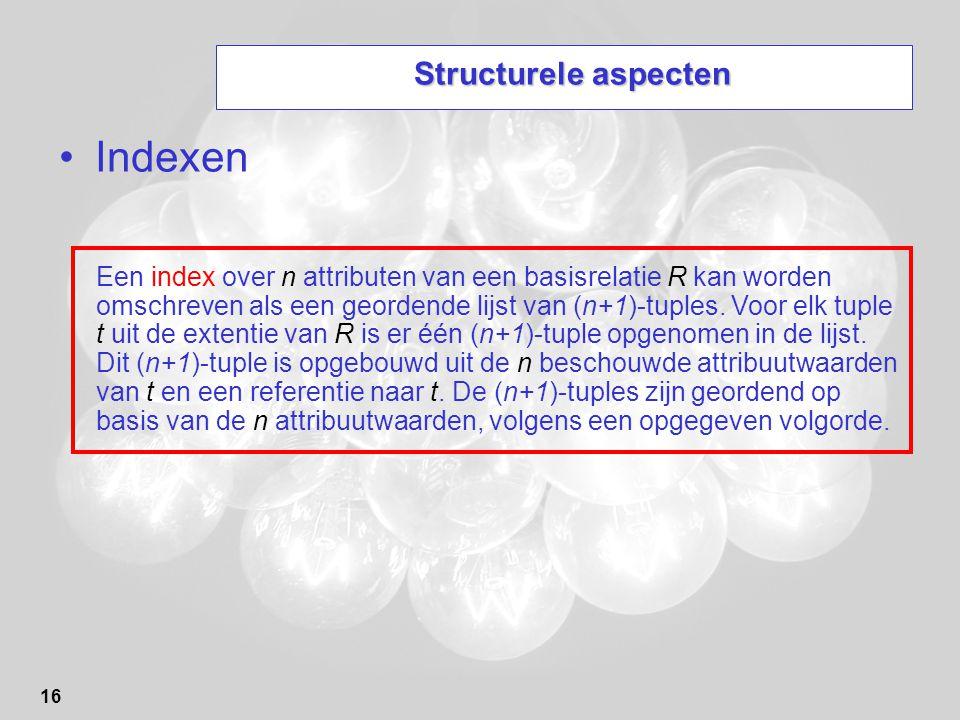 Indexen Structurele aspecten