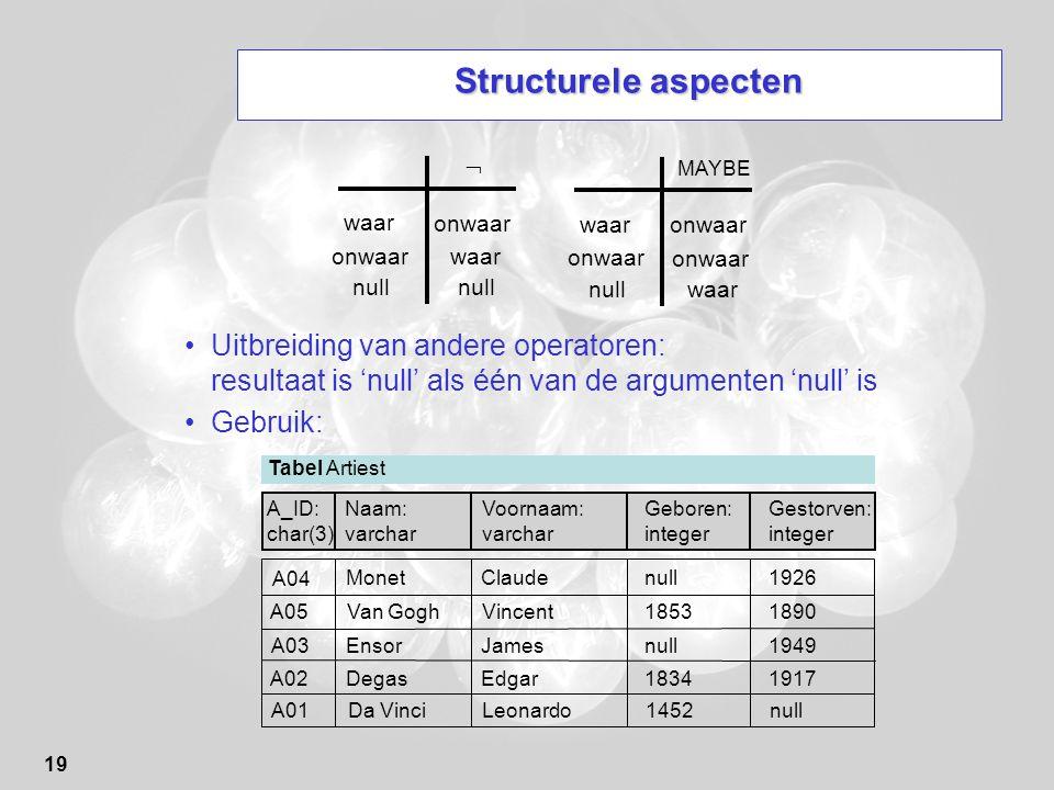 Structurele aspecten  MAYBE. waar. onwaar. waar. onwaar. onwaar. waar. onwaar. onwaar. null.