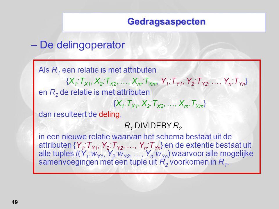 De delingoperator Gedragsaspecten Als R1 een relatie is met attributen