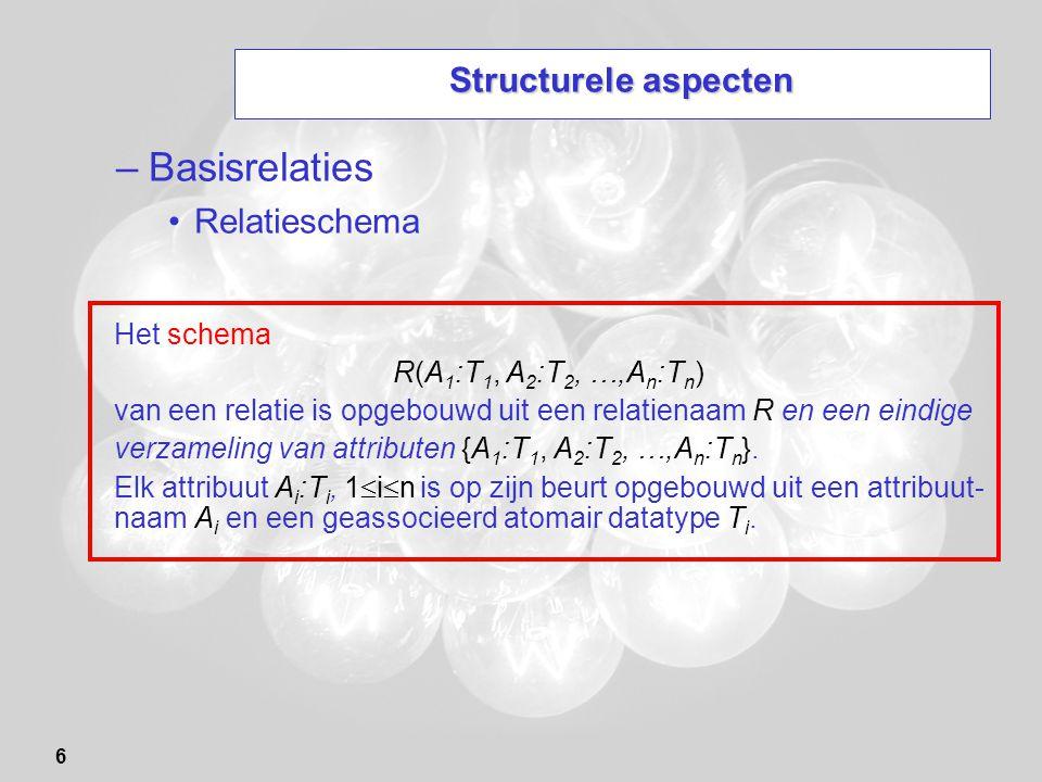 Basisrelaties Structurele aspecten Relatieschema Het schema