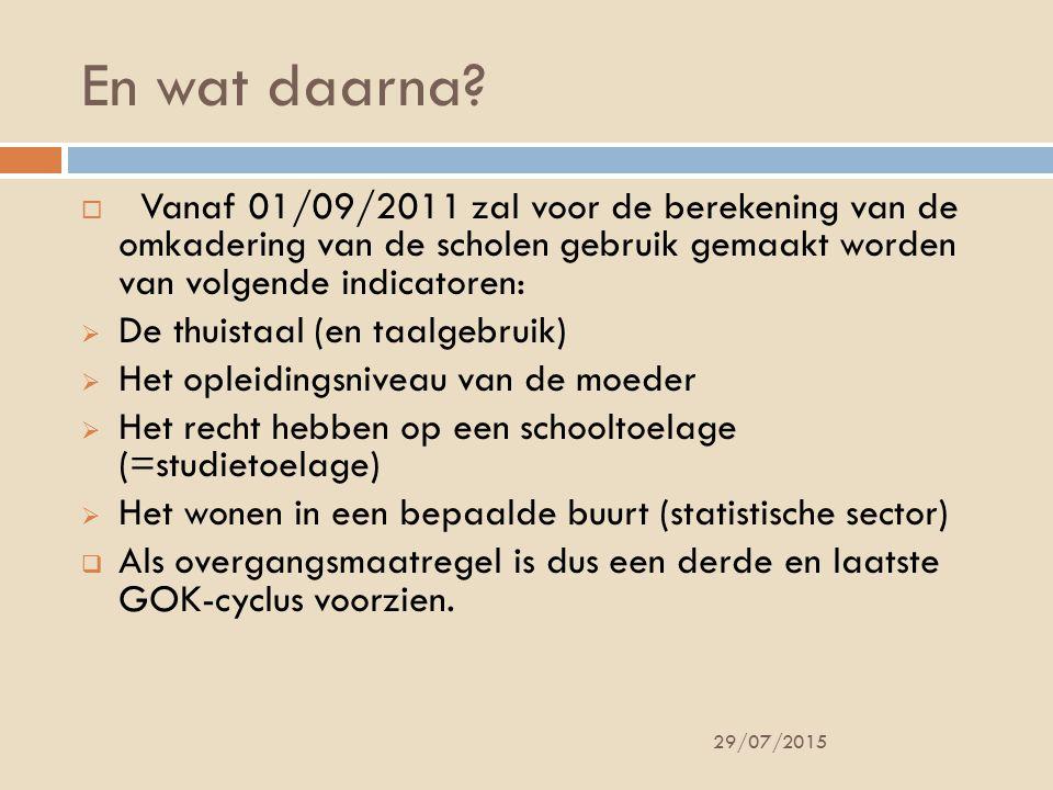 En wat daarna Vanaf 01/09/2011 zal voor de berekening van de omkadering van de scholen gebruik gemaakt worden van volgende indicatoren:
