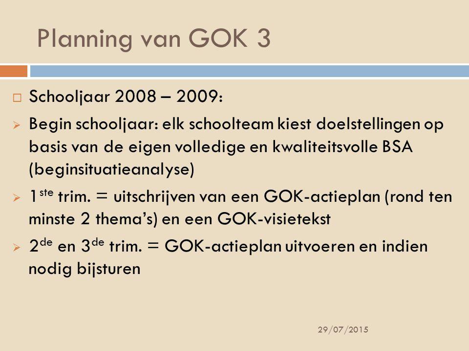 Planning van GOK 3 Schooljaar 2008 – 2009:
