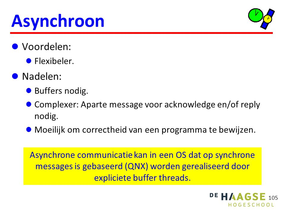 Messages Adressering Direct: sender geeft receiver proces (of thread) op. Indirect: sender geeft port, channel of mailbox op.