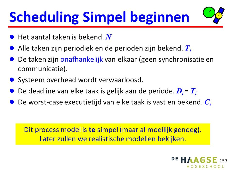 Cyclic executive Als schedule van tevoren bepaald is kun je het uitvoeren van de schedule expliciet programmeren.